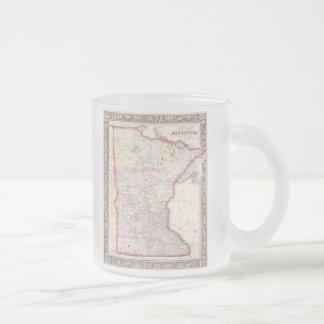 Mapa del vintage de Minnesota (1864) Taza De Cristal