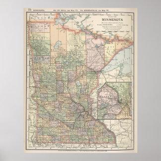 Mapa del vintage de Minnesota (1891) Póster