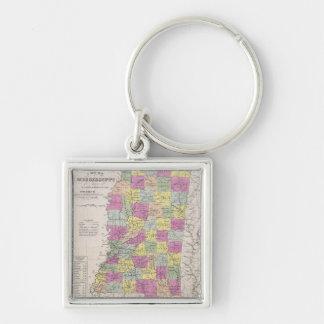 Mapa del vintage de Mississippi (1853) Llavero Cuadrado Plateado
