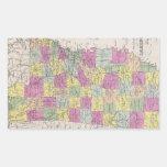 Mapa del vintage de Mississippi (1853) Pegatina Rectangular