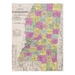 Mapa del vintage de Mississippi (1853) Postal