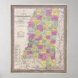 Mapa del vintage de Mississippi (1853) Posters