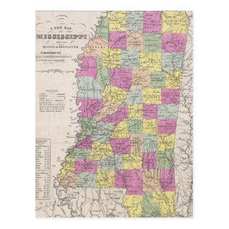 Mapa del vintage de Mississippi (1853) Tarjetas Postales