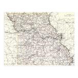 Mapa del vintage de Missouri (1883) Postal