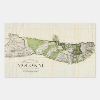 Mapa del vintage de Molokai Hawaii (1906) Pegatina Rectangular