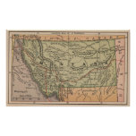 Mapa del vintage de Montana (1885) Póster