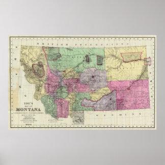 Mapa del vintage de Montana (1890) Póster