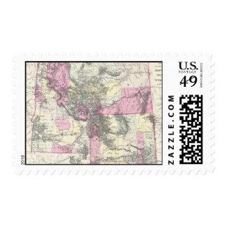 Mapa del vintage de Montana, de Wyoming y de Idaho Estampillas