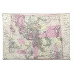 Mapa del vintage de Montana, de Wyoming y de Idaho Mantel Individual