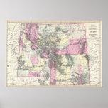 Mapa del vintage de Montana, de Wyoming y de Idaho Impresiones