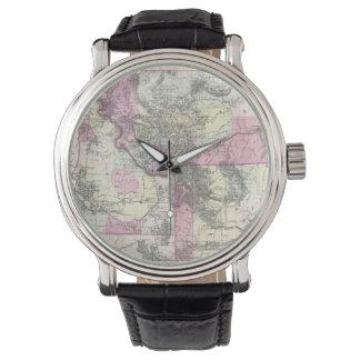 Mapa del vintage de Montana, de Wyoming y de Idaho Relojes De Mano