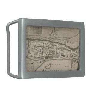 Mapa del vintage de Montreal (1758) Hebilla Cinturon