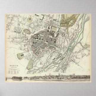 Mapa del vintage de Munich Alemania (1832) Poster