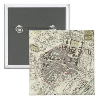 Mapa del vintage de Munich Alemania (1832) Pin Cuadrada 5 Cm