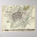 Mapa del vintage de Munich Alemania (1832) Póster