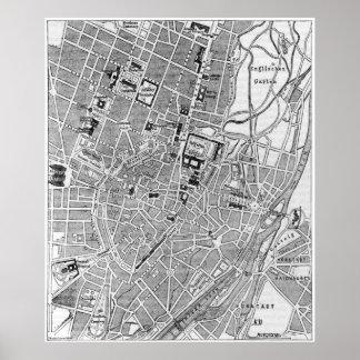 Mapa del vintage de Munich Alemania (1884) Posters