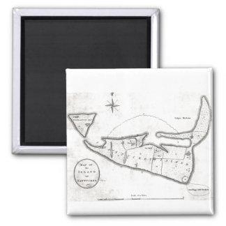 Mapa del vintage de Nantucket 1782 Iman De Frigorífico