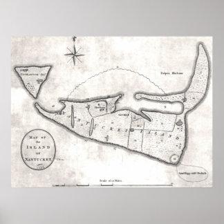 Mapa del vintage de Nantucket (1782) Póster