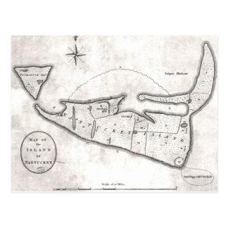 Mapa del vintage de Nantucket (1782) Postal