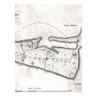 Mapa del vintage de Nantucket (1782) Tarjeta Postal