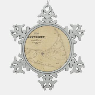 Mapa del vintage de Nantucket (1838) Adorno De Peltre En Forma De Copo De Nieve
