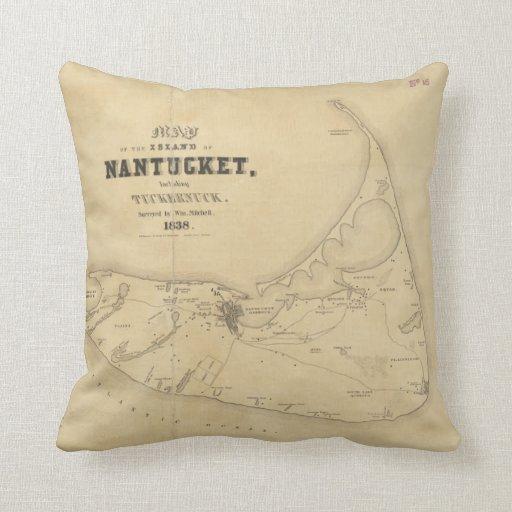 Mapa del vintage de Nantucket (1838) Almohadas