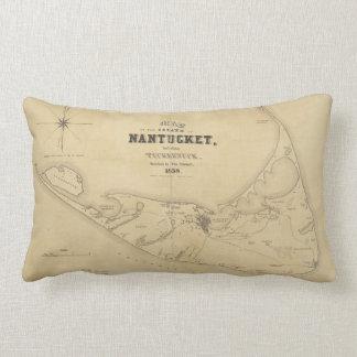 Mapa del vintage de Nantucket (1838) Cojín Lumbar