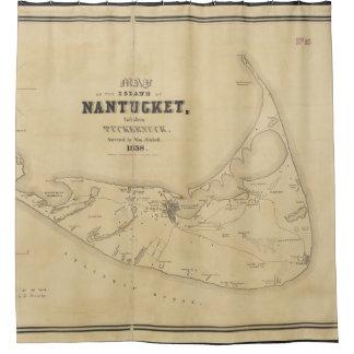 Mapa del vintage de Nantucket (1838) Cortina De Baño