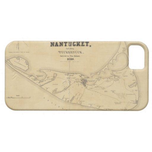 Mapa del vintage de Nantucket (1838) Funda Para iPhone 5 Barely There