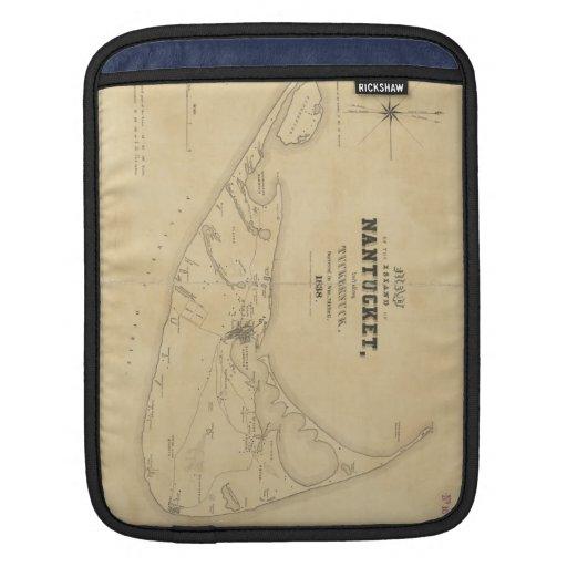 Mapa del vintage de Nantucket (1838) Funda Para iPads
