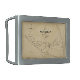 Mapa del vintage de Nantucket 1838 Hebilla Cinturon Rectangular