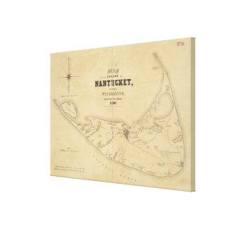 Mapa del vintage de Nantucket (1838) Impresión En Tela