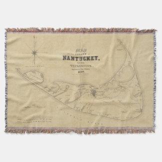 Mapa del vintage de Nantucket (1838) Manta