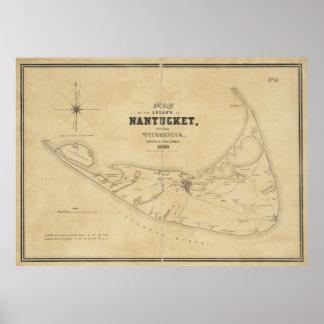 Mapa del vintage de Nantucket (1838) Impresiones