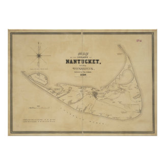 Mapa del vintage de Nantucket (1838) Póster