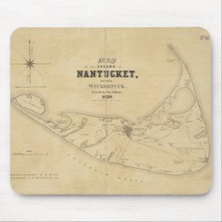 Mapa del vintage de Nantucket (1838) Tapetes De Raton