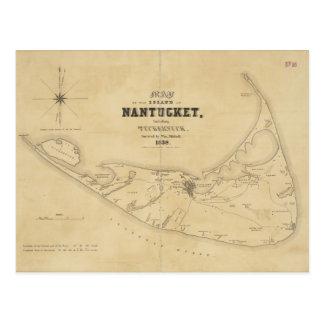 Mapa del vintage de Nantucket (1838) Postal