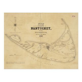 Mapa del vintage de Nantucket (1838) Tarjetas Postales