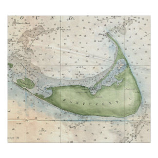 Mapa del vintage de Nantucket (1857) Póster