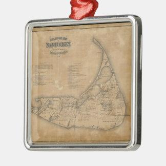 Mapa del vintage de Nantucket (1869) Adorno Navideño Cuadrado De Metal