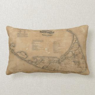 Mapa del vintage de Nantucket (1869) Cojín Lumbar