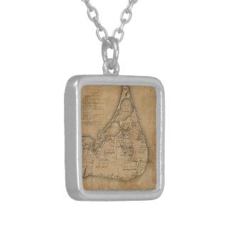Mapa del vintage de Nantucket 1869 Pendiente Personalizado
