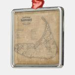 Mapa del vintage de Nantucket (1869) Adorno Para Reyes