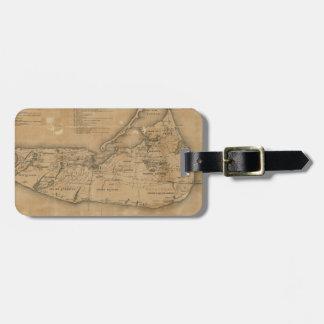 Mapa del vintage de Nantucket (1869) Etiqueta Para Equipaje