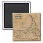 Mapa del vintage de Nantucket (1869) Imán Cuadrado
