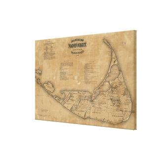 Mapa del vintage de Nantucket (1869) Lienzo Envuelto Para Galerias