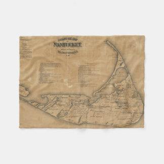 Mapa del vintage de Nantucket (1869) Manta De Forro Polar