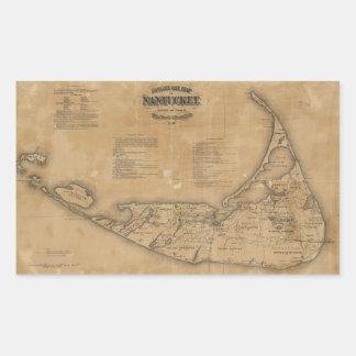 Mapa del vintage de Nantucket (1869) Pegatina Rectangular