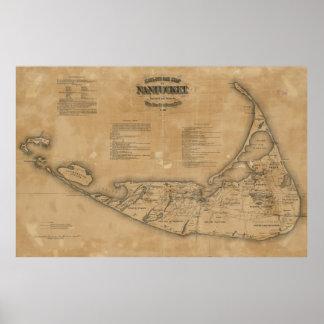 Mapa del vintage de Nantucket (1869) Póster