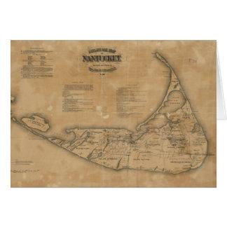 Mapa del vintage de Nantucket (1869) Tarjeta De Felicitación
